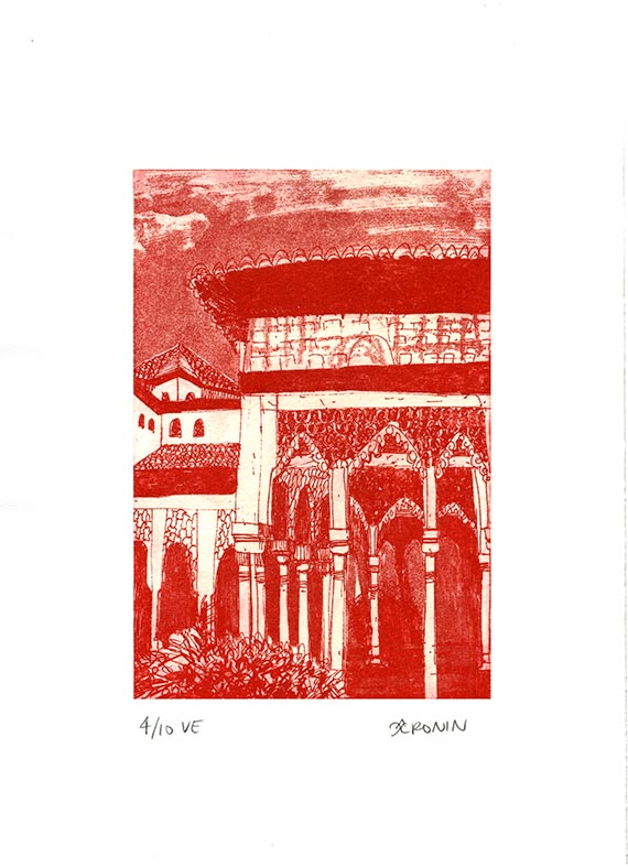 Alhambra Courtyard Etching Hand Pulled Original Print - Red