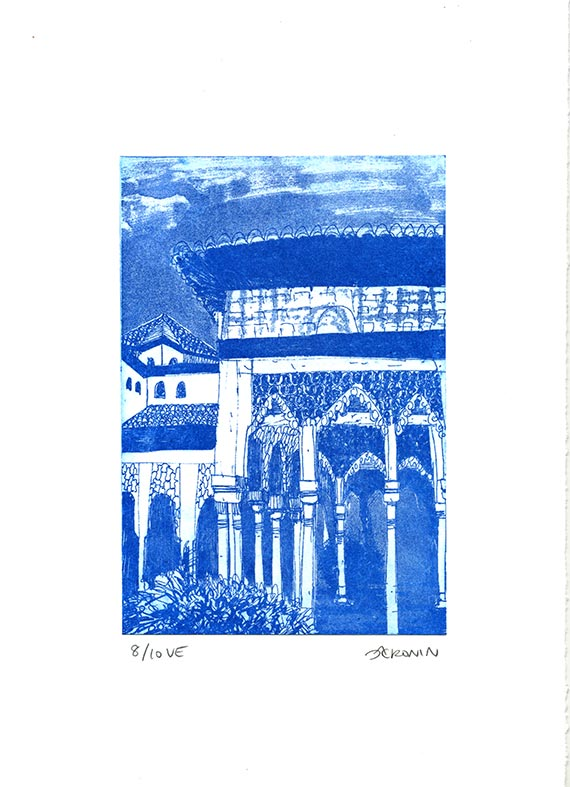Alhambra Courtyard Etching Hand Pulled Original Print - Blue