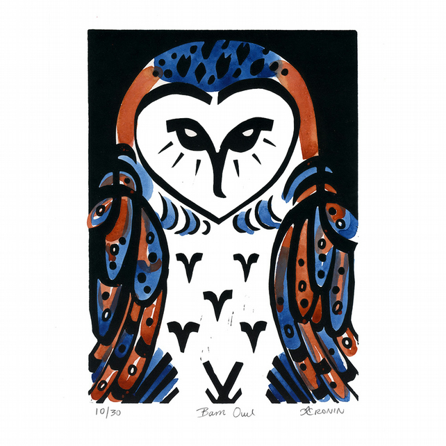 Barn Owl coloured linocut 10 of 30
