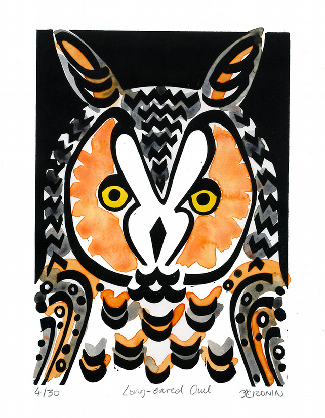 Long-eared Owl coloured linocut 4 of 30