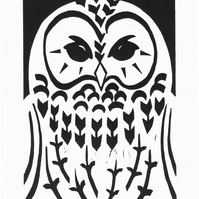 Tawny Owl black-white linocut (edition of 30)