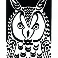 Long-eared Owl black-white linocut (edition of 30)
