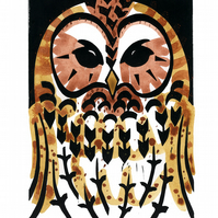 Tawny Owl coloured linocut 5 of 30