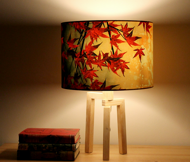 Japanese Maple Drum Lampshade by Lily Greenwood