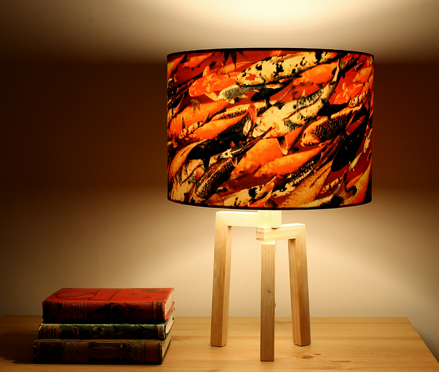 Koi on Crimson Drum Lampshade by Lily Greenwood