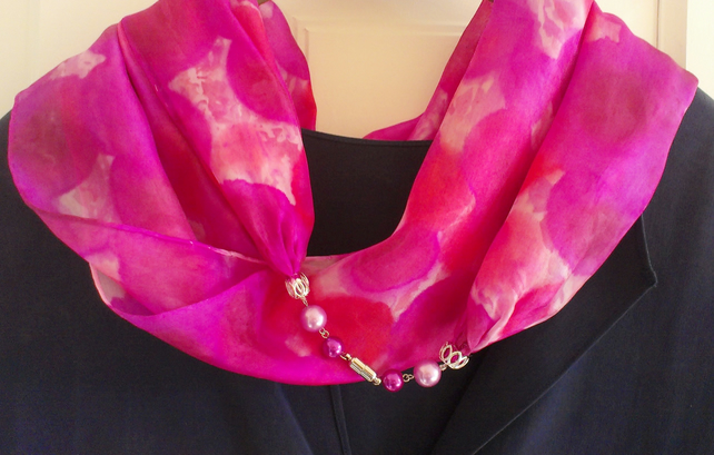 Double infinity silk scarf, pink poppy and petunia, hand painted