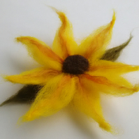 Yellow needled felted sunflower brooch, corsage