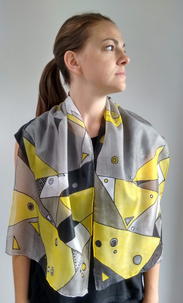 Wearable Art, Pure silk grey yellow and black scarf, long