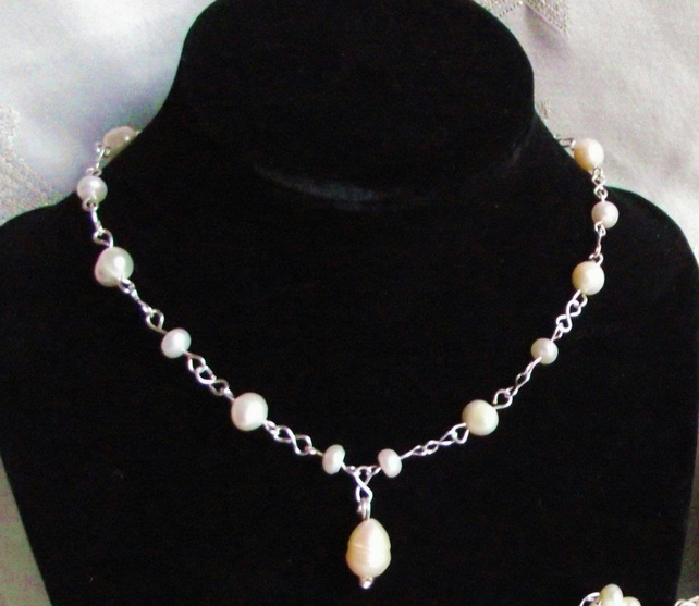 Freshwater Pearl and handcrafted chain necklace