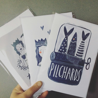 Pack of 3 cards (mermaid, lovers& pilchards!)