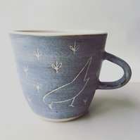 Crow and Seedlings hand made Stoneware Pottery mug