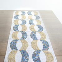 Quilted Gold Links Patchwork Table Runner