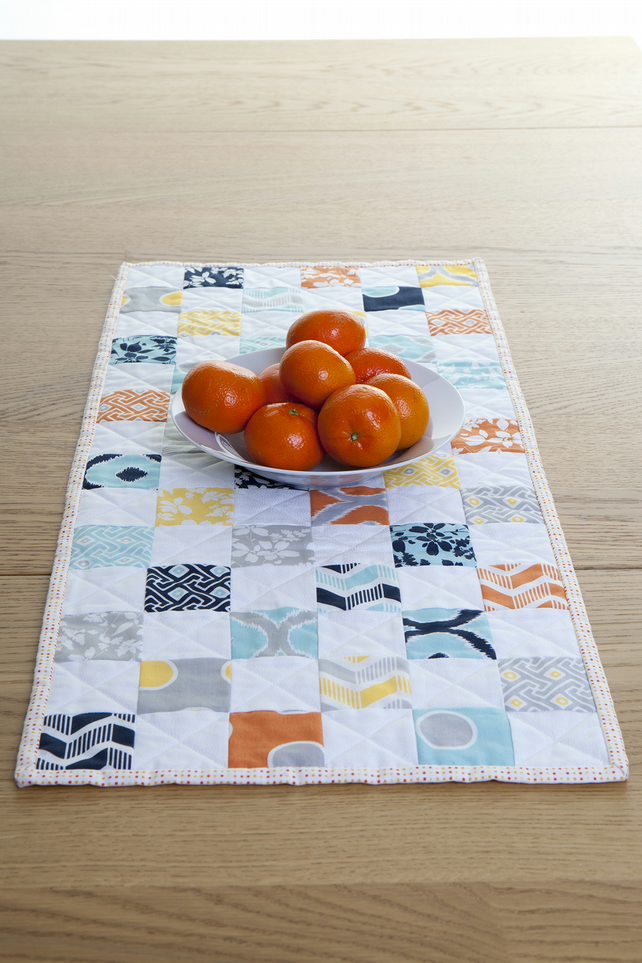 Quilted Sunshine Bright Patchwork Table Runner