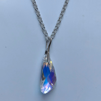 Swan Wing Swarovski Crystal and Sterling Silver  Pendant