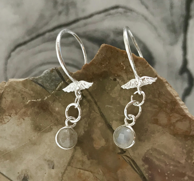 Faceted Rainbow Moonstone Crystal and Sterling Silver Angel Wing Round Earrings