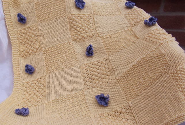 Hand Knitted Baby Blanket Folksy