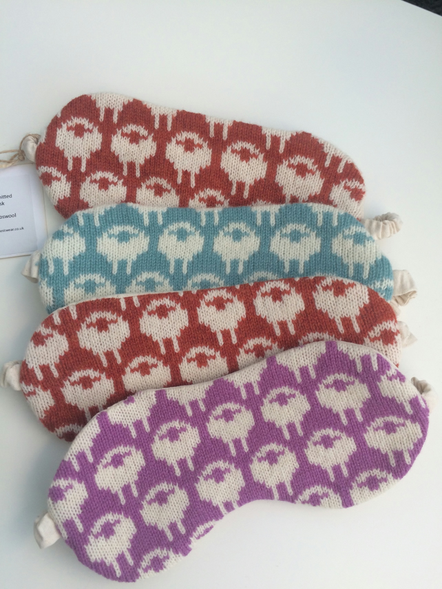 Lambswool eye masks, sleep masks fully lined with cotton