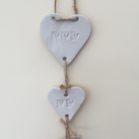 Pottery, ceramic Loveheart hanger, gift idea, white glaze, U.K. Handmade item