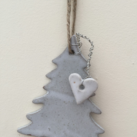 Ceramic christmas tree hanger, hand made tree with wire loveheart, garden,