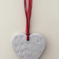 Loveheart hanger, gift idea, handmade pottery, wedding, birthday christmas gift,