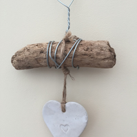 Driftwood, Loveheart hanger, pottery, gift idea, birthday, clay, wall hanging,