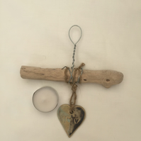 Driftwood, Loveheart hanger, pottery, gift idea, birthday, clay, home decor