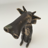 MEGA SALE- Ceramic cow, hand made one off design, gift idea, home decor,