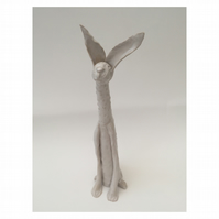 SALE- Clay hare, bespoke animal, hand made pottery, gift, white, ornament