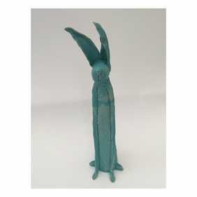 Clay hare, one off handmade pottery, gift for her,him, UK, turquoise