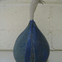 Bespoke Ceramic pod, sculpture, garden ornament, stoneware, pottery blue
