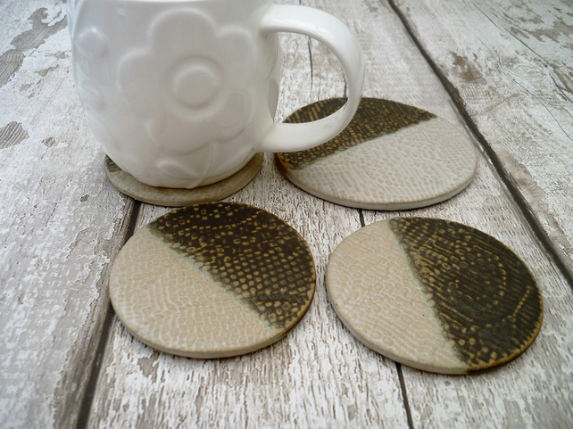 Bespoke ceramic coasters, tea pot stand, handmade gift, t-light stand