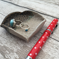 Handmade Ring dish, earring dish, pottery, turquoise, white, home decor,