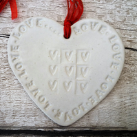 Ceramic Loveheart hanger, clay lovehearts, gift idea, home decor, pottery