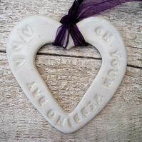 Wedding day Loveheart hanger, ceramic lovehearts, gift idea, home decor, pottery