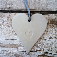 Unique Loveheart hanger, gift idea, handmade pottery, wedding, birthday, gift,