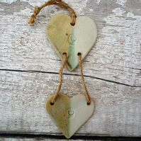 Handmade Ceramic Loveheart hanger, gift idea, Pottery, home decor