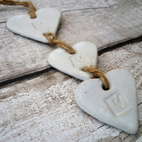 Hand made Loveheart hanger, ceramic lovehearts, gift idea, home decor