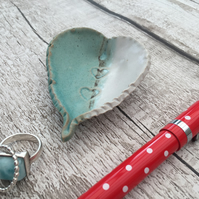 SALE:- Ring, earring dish, pottery, giftware, turquoise, white, home decor