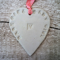 Loveheart hanger, ceramic lovehearts, gift idea, home decor, pottery