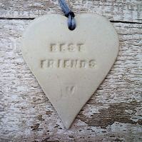 SALE- 'Best friends' Loveheart hanger, ceramic lovehearts, home decor, pottery