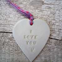 'I love you' Loveheart hanger, ceramic lovehearts gift idea, home decor, pottery