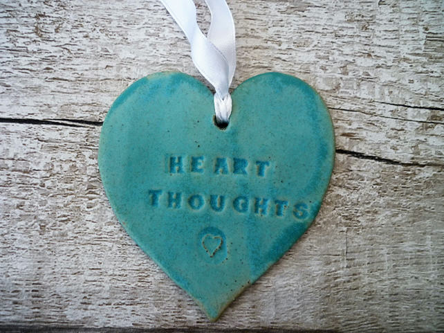 SALE-Loveheart hanger, ceramic lovehearts, gift idea, home decor, pottery, UK