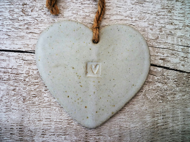 One-off Loveheart hanger, ceramic lovehearts, gift idea, home decor, pottery,UK