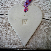 Loveheart hanger, ceramic lovehearts, gift idea, home decor, pottery, gift idea
