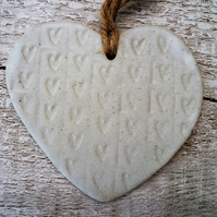 Bespoke Hand made Loveheart hanger, ceramic lovehearts, gift idea, home decor
