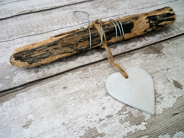 One off Driftwood, Loveheart hanger, bespoke design, pottery, gift idea birthday