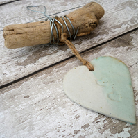 Handmade Driftwood, Loveheart hanger,pottery, gift idea, birthday, wall hanging,