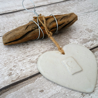Ceramic Driftwood, Loveheart hanger, pottery, gift idea, birthday, clay,