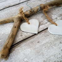 Bespoke one off Driftwood, Loveheart hanger, pottery, gift idea, birthday