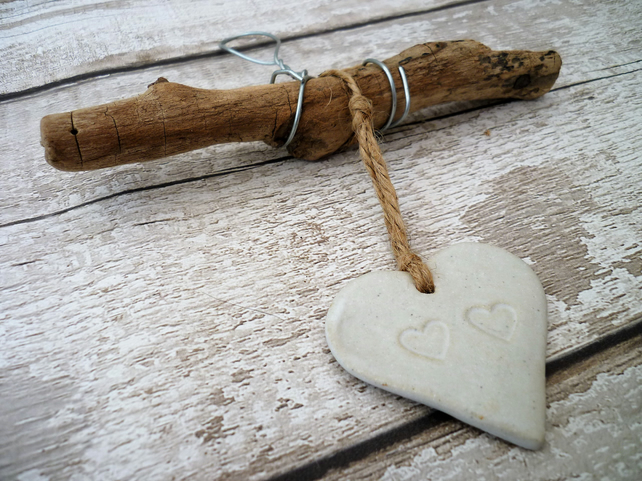 Handmade Driftwood, Loveheart hanger, pottery, gift idea, birthday, clay, UK